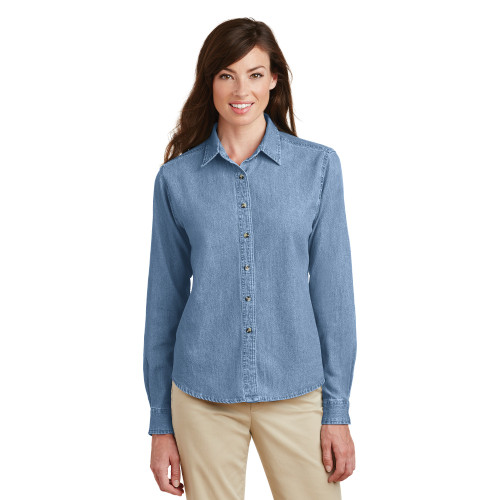 LARGE FWS Women's Long Sleeved Light Denim Shirt  - 30% OFF