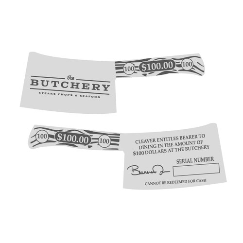 The Butchery Gift Cards $100 Silver Alloy NEW (RESTRICTED)