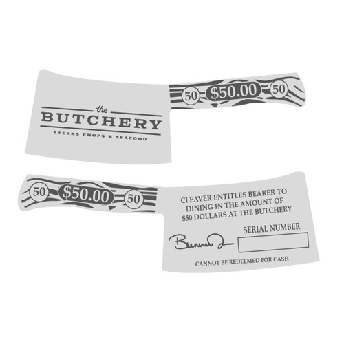 The Butchery Gift Cards $50 Silver Alloy NEW (RESTRICTED)