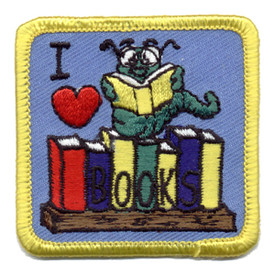 S-0100 I Love Books- Book Worm Patch