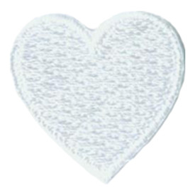 S-2888 1 Inch Heart (White) Patch