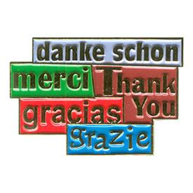 P-0105 Thank You (5 Languages) Pin