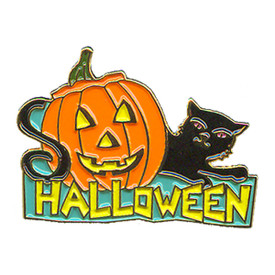 P-0161 Halloween (Pumpkin & Cat) Pin