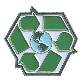 P-0282 Recycle Symbol W/ World Pin