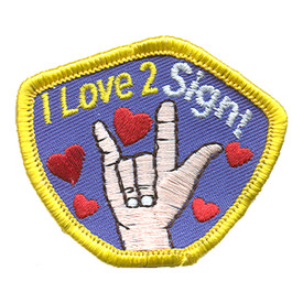 S-1196 I Love 2 Sign Patch