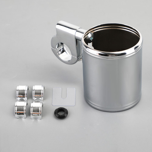 """MOTORCYCLE ATV CHROME CUP HOLDER FIT FOR 7/8"""" TO 1-1/4"""" HANDLEBAR"""