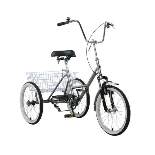 "20"" Folding Tricycle Bike 3 Wheeler Bicycle Portable Tricycle Wheels Gray"