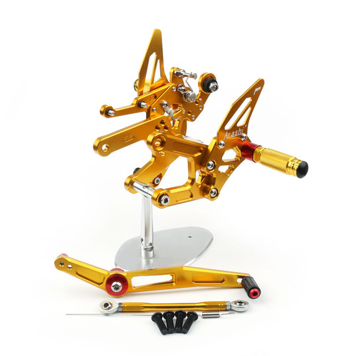 Adjustable CNC Rider Rear Set Rearsets Footrest Foot Rest Pegs Fit For Yamaha YZF R6 2017-2020 GOLD