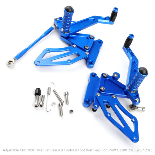 Adjustable CNC Rider Rear Set Rearsets Footrest Foot Rest Pegs Fit For BMW G310R 2016 2017 2018 BLUE