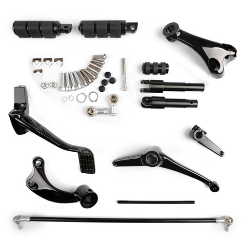 Motorcycle Forward Controls Kit Foot Pegs Levers Linkages Fit For Harley Sportster XL 883 1200 XL883 Iron 883 XL1200X 48 BLK