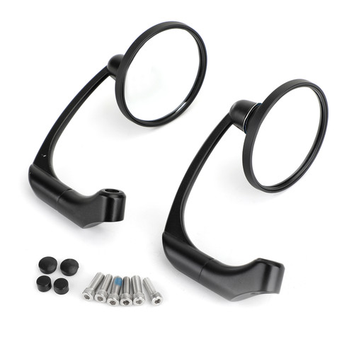 Motorcycle L-bar Retro Round Rearview Side Mirrors M8 / M10 Pair For GN/ CG Cafe Racer Chopper Cruiser Custom BLK