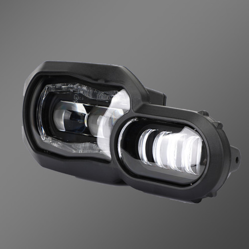 LED Headlight with DRL Hi/Lo Beam Waterproof DC12-24V Fit for F650GS 08-12 F700GS F800GS Adventure 13-18 F800R 06-16 Black