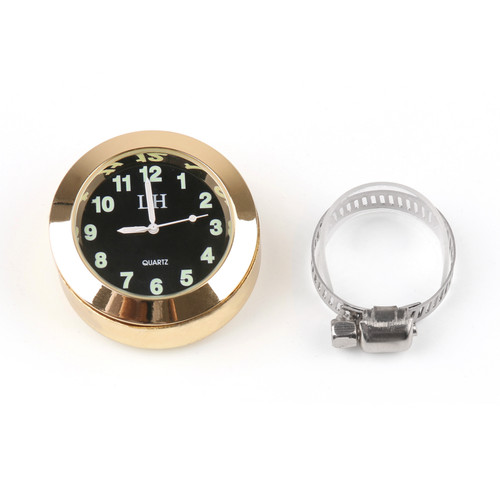 """7/8"""" to 1"""" Motorcycle Handlebar Bar Mount Clock Watch for Cruiser Universal Fit Gold"""