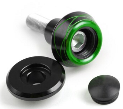 2x10mm CNC Swingarm Spools Slider Fit For Kawasaki ZX10R Z800 Z1000 Green