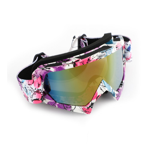 Racing Goggles Motocross MX MTB ATV UTV Dirt Bike Off-road Eyewear Pink Frame & Colorful Lens