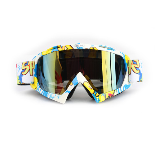 Racing Goggles Motocross MX MTB ATV UTV Dirt Bike Off-road Eyewear Blue Frame & Colorful Lens