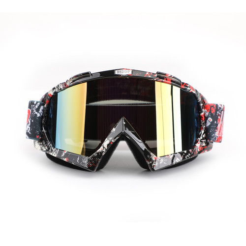 Racing Goggles Motocross MX MTB ATV UTV Dirt Bike Off-road Eyewear Black+Red & Colorful Lens