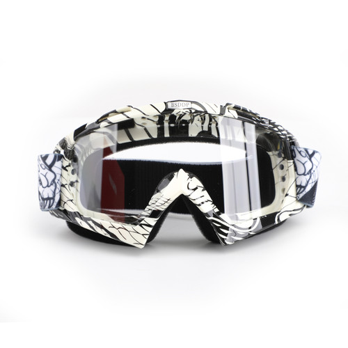 Racing Goggles Motocross MX MTB ATV UTV Dirt Bike Off-road Eyewear A017 Black & Clear Lens