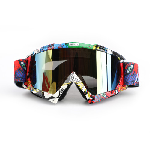 Racing Goggles Motocross MX MTB ATV UTV Dirt Bike Off-road Eyewear Red Frame & Colorful Lens