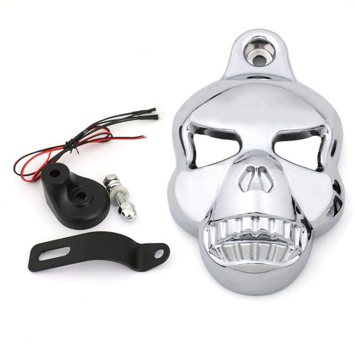 Skull Horn Cover Fit For Harley Davidson Softail Dyna Glide Big Twin Electra, Light
