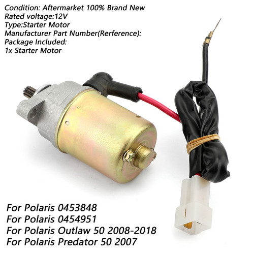 Electric Starter Starting Fit For POLARIS 0453848 0454951 Outlaw 50 08-18 Predator 50 07 Silver