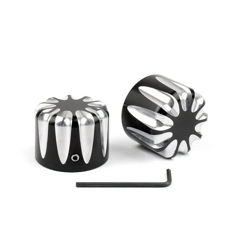 Front CNC Cut Axle Nut Cover Fit For Harley Electra Street Road Glide