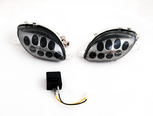 Front Indicators Flush Mount LED Turn Signals Fit For Suzuki Hayabusa GSX1300R (1999-2007), Smoke