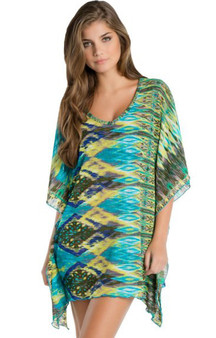 Hippy Green V-Neck Tunic Cover-Up