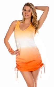 Shirred Side Dip Dye Dress - Creamsicle Orange