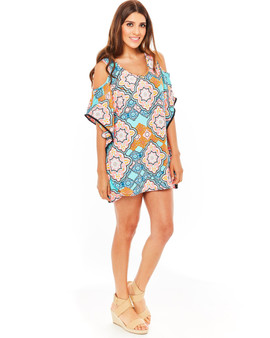 Mambo Cover-up Dress - Teal Moroccan