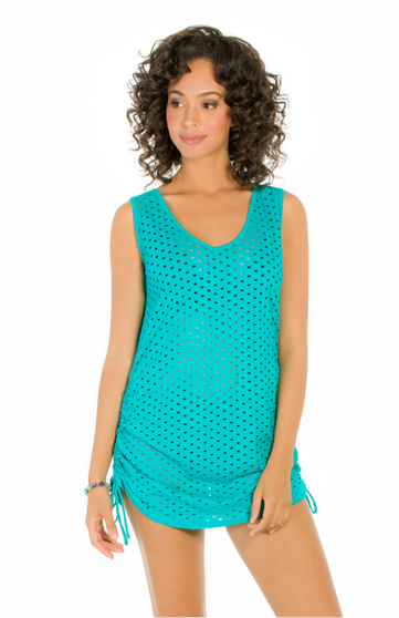 Jacquard Shirred Side Dress - Surf