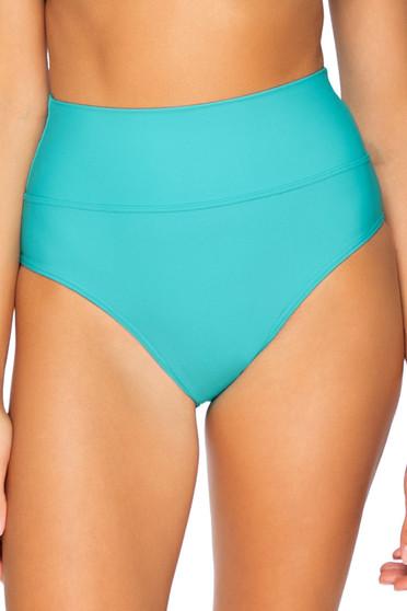 Seaside Aqua Hannah High Waist Bottom