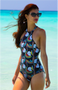 Gina High Neck Reversible One Piece - Parrot Print