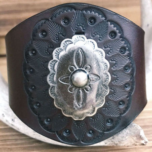 Desert Marigold hand-tooled leather wrist cuff