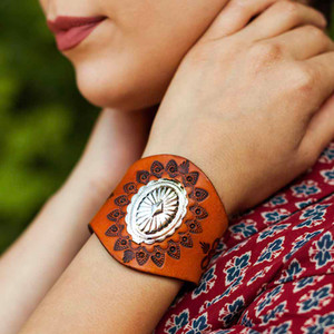 Sonora hand-tooled leather wrist cuff