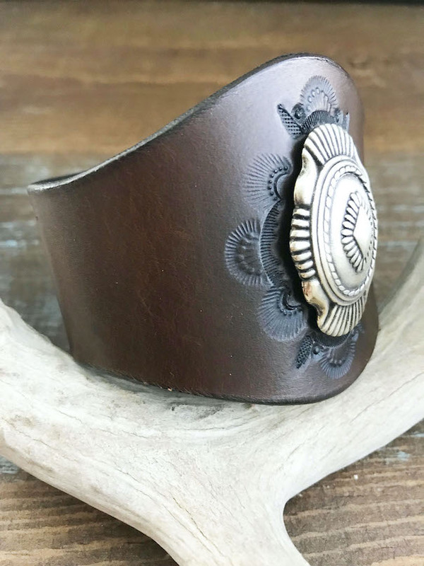 Vaquera Leather Cuff - handmade with European veg tanned leather