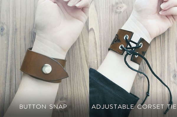 Leather Wrist Cuff Closure Options - Ninth House Collection