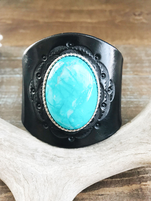 Piscina Leather Wrist Cuff with Turquoise Concho - pre-made in black