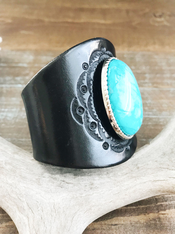 Piscina Turquoise Cuff Bracelet - pre-made in black