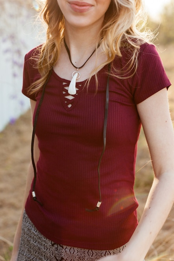 Buffalo Tooth Necklace - handmade with premiumoil tanned leather lace