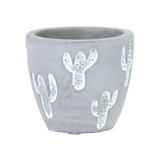 Cement Pot with Painted White Cactus