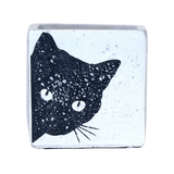 Cement Pot with Black Cat Painting