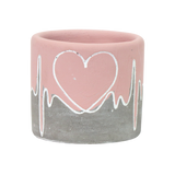 Pink Cement Pot with Heart Design