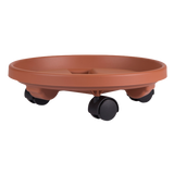 Round Plant Caddy with Wheels in Terracotta