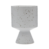 Modern Ceramic Pot in White with Speckle Pattern