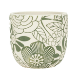 White Cement Planter with Green Embossed Flowers.