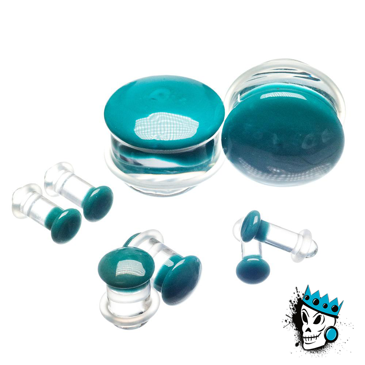 Pair of Denim Glass Single Flared Color Front Plugs
