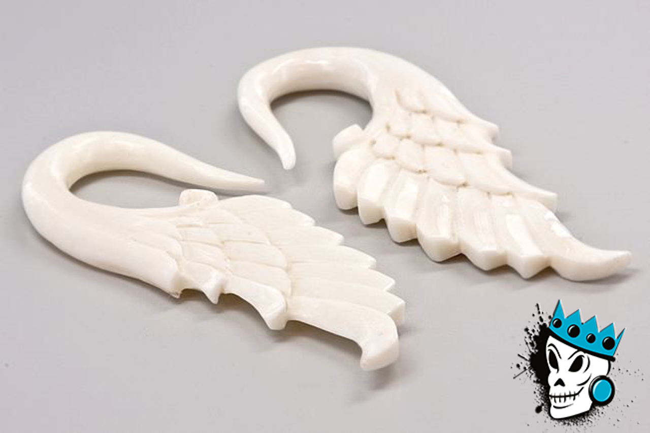 Bone Angel Wing Hooks 6 Gauge King S Body Jewelry