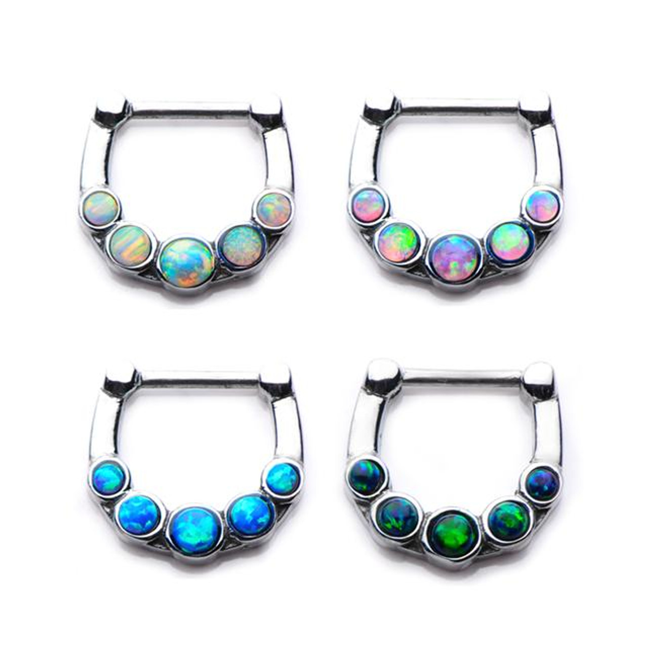 Opal Septum Clicker 16 Gauge 14g King S Body Jewelry