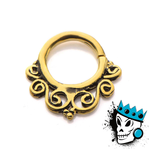 Ornate Brass Filigree Septum Ring